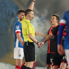 Red mist: Paul Heatley is sent off in last year's County Antrim Shield final