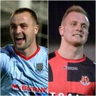 Brothers Kyle (left - Ballymena centre-back) and Jordan Owens (right - Crusaders striker) will go head to head in the County Antrim Shield final.