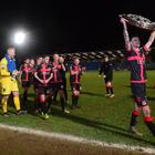 Crusaders celebrate after winning this evening's game at Warden Street in Ballymena. Photo Arthur Allison/Pacemaker Press