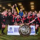 Winners: Crusaders celebrate Shield final victory at Ballymena