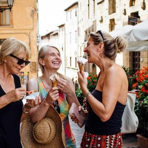 A group of holidaymakers enjoying Tuscany