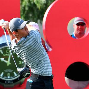 Rory McIlroy in action during the round one of the Dubai Desert Classic Golf Championship