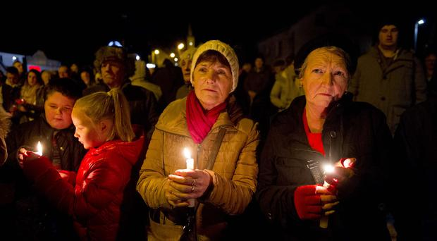 Candle lit vigil for robbery victim in Aughnacloy. A burglary at an elderly woman's home on Sydney street has taken place in Aughnacloy and is being treated as attempted murder after she was found in her garden in a critical condition. Picture Mark Marlow