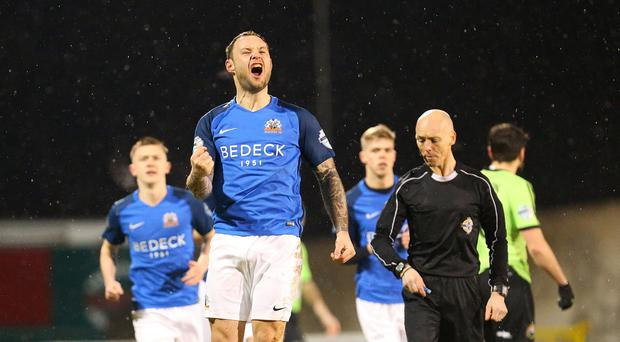 PACEMAKER BELFAST 26/01/2018 Glenavon v Warrenpoint Danske Bank Premiership Glenavons Andrew Doyle celebrates his goal during this evenings game at Mournview Park in Lurgan. Photo Alan Weir/Pacemaker Press