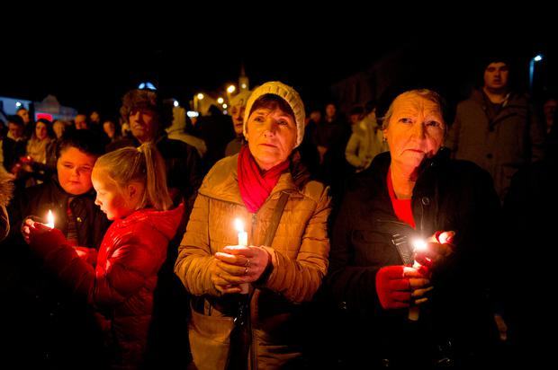 The candlelit vigil for Pat Davidson in Aughnacloy on Thursday evening