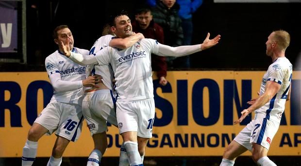 Key role: Eoin Bradley celebrates scoring against Dungannon Swifts
