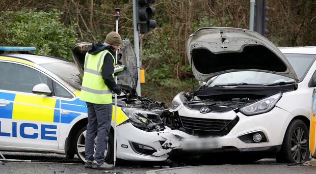 The scene on the Knock dual carriageway beside Forestside in south Belfast where a police car collided with another vehicle on Saturday morning. Picture by Jonathan Porter/PressEye
