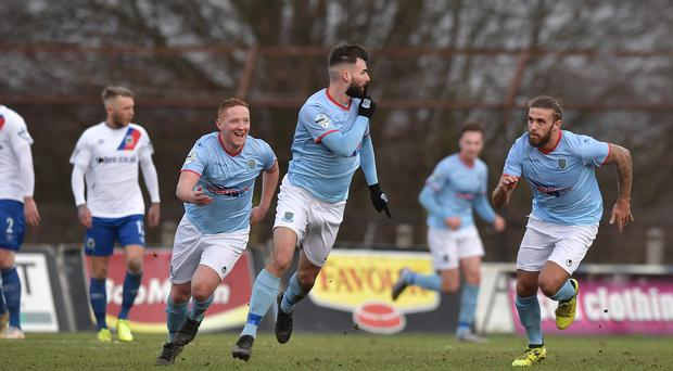 Ballymena's Johnny McMurray scores during todays game at Warden Street in Ballymena. Photo Charles McQuillan