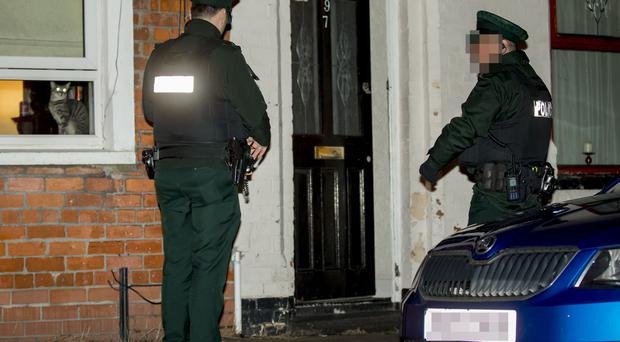 Police at the scene of a shooting incident in the Upper Meadow Street area of the New Lodge. (Photo by Kevin Scott / Belfast Telegraph)