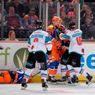 Giant mistake: Sebastien Sylvestre in an altercation with a Steelers opponent which led to his removal from the game