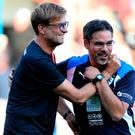 Pals: Jurgen Klopp and David Wagner, who was best man at his wedding
