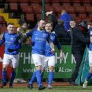 First blood: Andrew Doyle opens the scoring for Glenavon