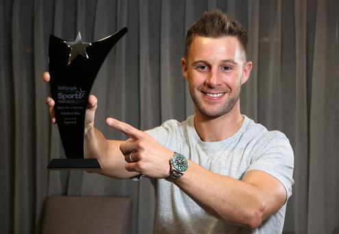 Making his point: Jonathan Rea is all smiles with his Belfast Telegraph Sports Star of the Year award