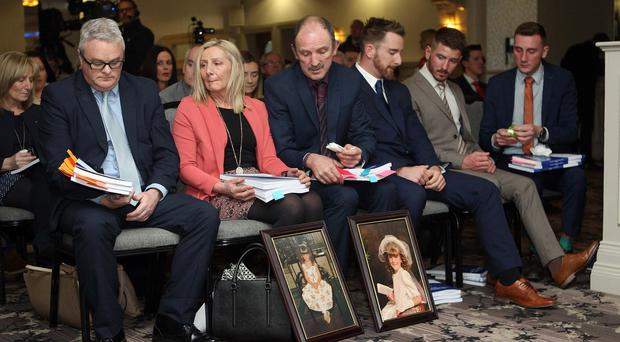 Families gather for the Hyponatraemia Inquiry report publication. Pic: Freddie Parkinson Presseye.