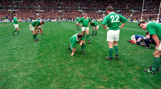 Feeling bleu: Andy Ward (right) and his Ireland team-mates after losing to France in Paris back in 1998