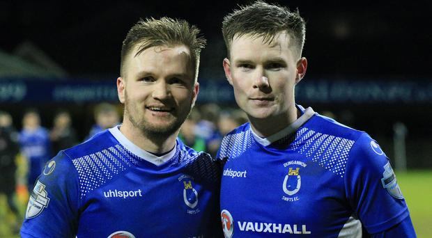 Goal heroes: Ryan Harpur and Peter McMahon struck for the Swifts
