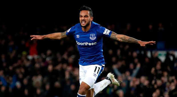 Everton's Theo Walcott celebrates