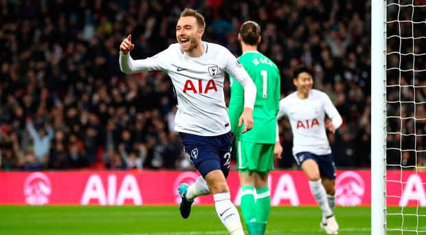 Real screamer: Christian Eriksen celebrates scoring after 11 seconds