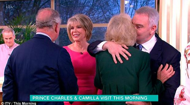 Eamonn Holmes greets the Duchess of Cornwall with a kiss on the cheek