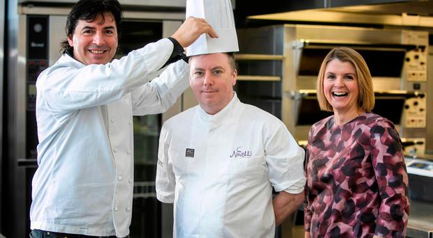 Jean-Christophe Novelli (left) with head chef Jim Mulholland and Lisa Steele, AC Hotel Belfast general manager