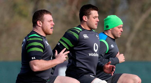 Knees up: Sean Cronin, CJ Stander and Rory Best train yesterday ahead of making the trip to France