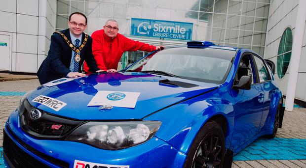 Driving force: the Mayor of Antrim and Newtownabbey, Councillor Paul Hamill, launches the UAC Easter Stages Rally with Graeme Stewart (event director)
