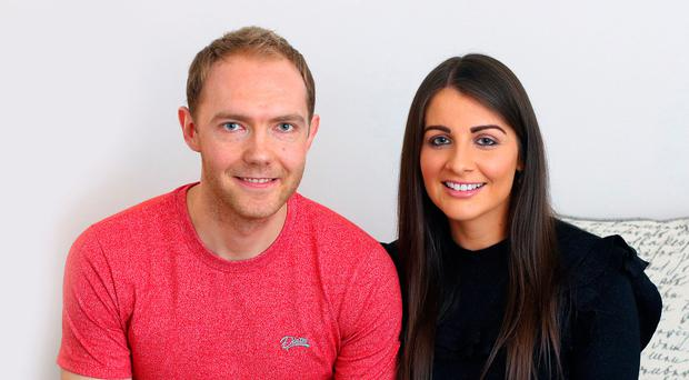 Bright future: Ross Redman with his fiancée Rhianne, who he will marry in June