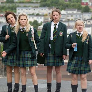 Derry Girls: James Maguire (Dylan Llewellyn), Michelle Mallon (Jamie-Lee O'Donnell), Erin Quinn (Saoirse Jackson), Orla McCool (Louisa Harland), Clare Devlin (NIcola Coughlan),