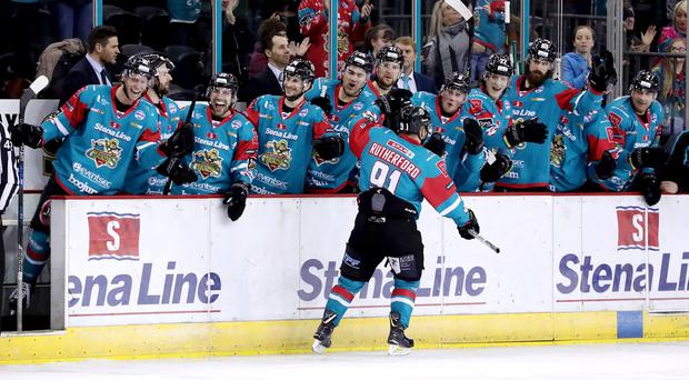Press Eye - Belfast - Northern Ireland - 02nd February 2018 - Photo by William Cherry/Presseye Belfast Giants David Rutherford celebrates scoring against the Cardiff Devils during Friday nights Elite Ice Hockey League game at the SSE Arena, Belfast.