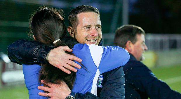 Winning feeling: Newry AFC boss Darren Mullen hopes to celebrate a big Irish Cup win today