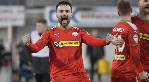 Cliftonville's Jamie Harney pictured at the end of todays game.
