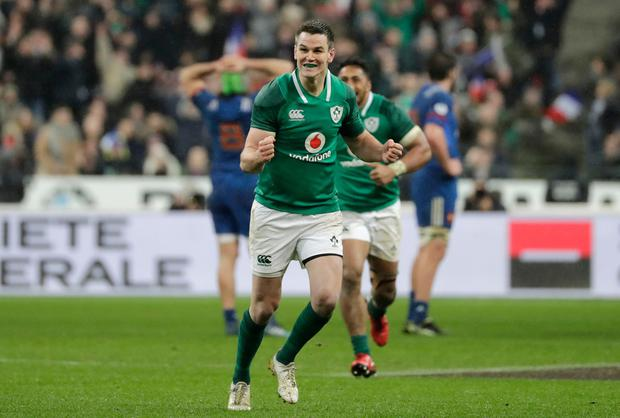 Ireland's fly-half Jonathan Sexton celebrates after scoring a drop goal during the Six Nations rugby union match between France and Ireland at the Stade de France in Paris on February 3, 2018. / AFP PHOTO / THOMAS SAMSONTHOMAS SAMSON/AFP/Getty Images