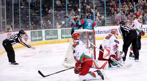 Belfast Giants Blair Riley celebrates scoring against the Cardiff Devils during Saturday night's Elite Ice Hockey League game at the SSE Arena, Belfast. Photo by William Cherry/Presseye