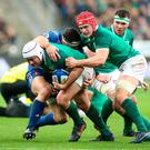 Ireland's Rory Best (left) during the NatWest 6 Nations match at the Stade de France, Paris. Gareth Fuller/PA Wire.