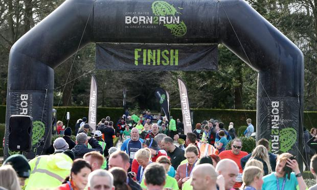 Press Eye - Belfast Telegraph - Born 2 Run - Antrim Castle Gardens - 3rd February 2018 Photograph by Declan Roughan Finish line