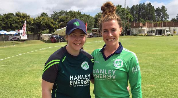 Impressive bow: Ulster's Cara Murray (left) is congratulated by captain Mary Waldron on her Ireland debut