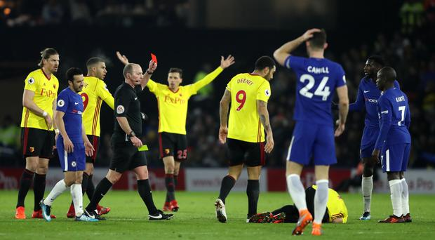 Tiemoue Bakayoko was sent off in the first half