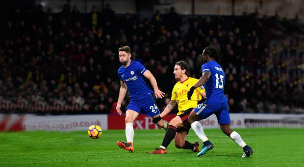 Hitting back: Daryl Janmaat responds to Chelsea's leveller by putting Watford 2-1 up