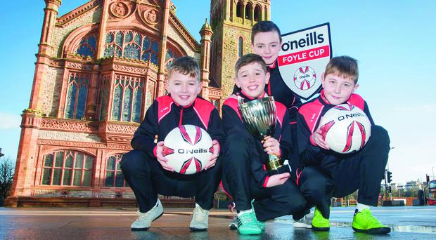 At the launch of O'Neill's sponsorship of the Foyle Cup are Oxford United players (L-R) Callum Ming, Luke Gallagher, Oisin Devlin and Callum McCay.