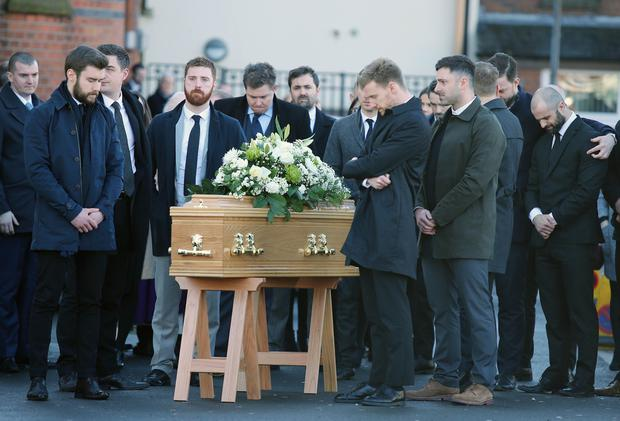 Funeral service for Michael Cullen at the Sacred Heart Church, Oldpark Road, Belfast.