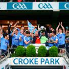Ultimate joy: Moy lift the All-Ireland Club trophy, which has proved a roaring success in the Intermediate game
