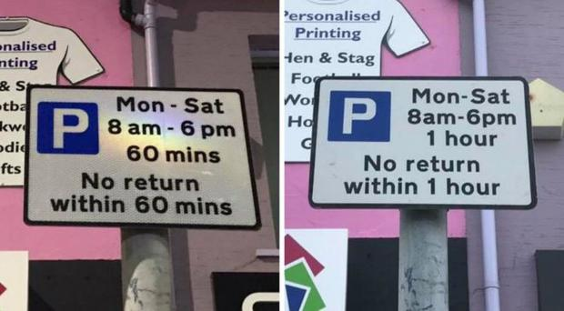 Bangor drivers have been left confused after parking signs in the town were replaced despite meaning exactly the same thing. Pic: BBC