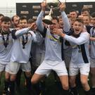 University of Ulster celebrate after the Farquhar Cup victory.