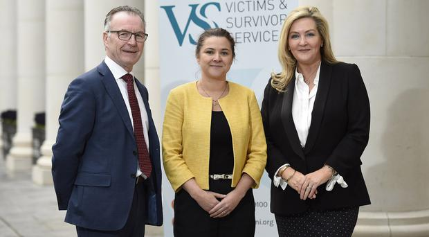 7/2/18: Pictured left to right are Chair of the Victims and Survivors Service Oliver Wilkinson, Chief Executive Officer of the VSS, Margaret Bateson, and Chief Executive Officer of the Special EU Programmes Body, Gina McIntyre, at the launch of the EU PEACE IV Victims and Survivors Programme. Picture: Michael Cooper