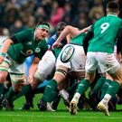 In command: CJ Stander passes to Conor Murray as Ireland go on the attack against France in Paris