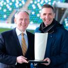 Three in a row: Paul McLean of BetMcLean presents Stephen Baxter with yet another Manager of the Month award