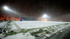 White-out: The wintry scenes at the Ballymena Showgrounds on Tuesday evening