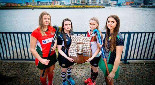 Up for the Cup: Four girls with their eyes firmly on the Belfast Telegraph Schools Cup at the semi-final draw, from left, Rachel Barnes (Friends), Ellen Mulholland (Rainey Endowed), Lauren Wright (Royal School Armagh) and Lauren McGaw (Sullivan Upper)