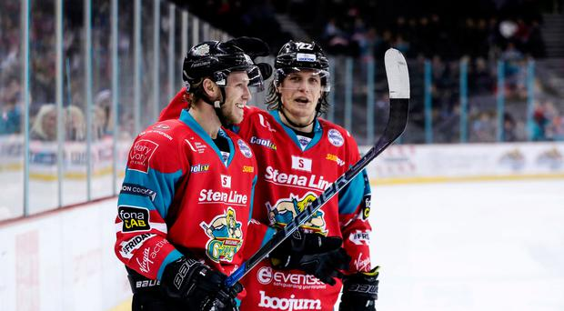 Goals galore: Sebastien Sylvestre celebrates scoring for the Giants last night at the SSE Arena