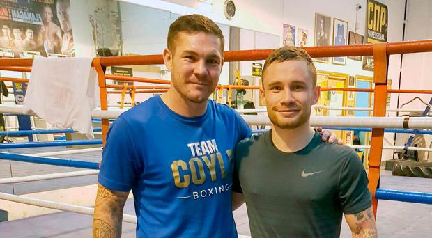 New team: Carl Frampton (right) with coach Jamie Moore